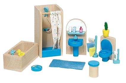 Goki 51903 mobili per casa delle bambole bagno 17 pezzi: amazon