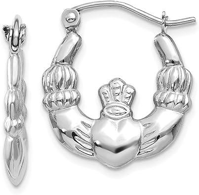 Sterling Silver Irish Claddage Hoop Earrings