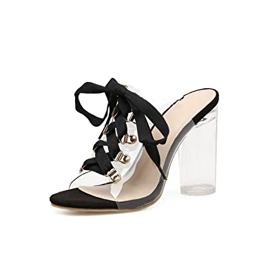 Botia Damen Hoher Absatz Sandalen Sommer Gladiator Stiletto Reißverschluss Nieten Schuhe vr92PSDZ7P