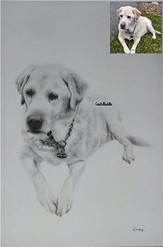 BookMyPainting Handmade Pet Portrait Charcoal Sketch,Photo to Sketch,Custom Portrait Gifts for Wedding,Birthday,Anniversary,Girlfriend,Boyfriend