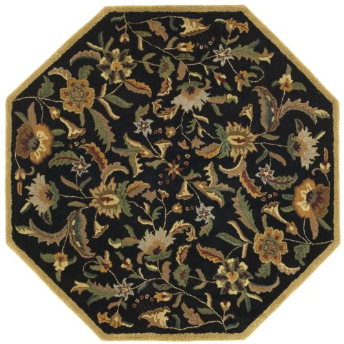 [Traditions Paradise Round Rug, 8-Feet by 8-Feet, Black] (Vine Wool Area Rug)