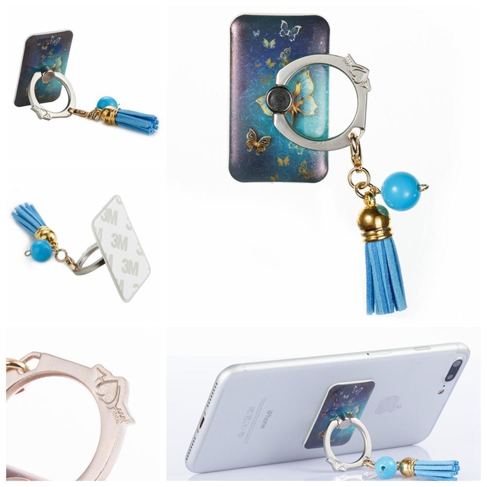 電話リングスタンドホルダー、Firefish電話グリップユニバーサルスマートフォン指ループスタンドタッセル携帯電話リングマウントfor iPhone 8 8 Plus 7s 6s SE Samsung Galaxy Android HTCタブレットiPadなど universal B075PWVMG4butterfly-2 universal
