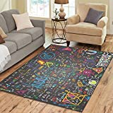 InterestPrint Physics Education Physical Formulas and Phenomenon Rug Carpet 7 x 5 Feet, Science Board with Math Modern Area Rug Floor Mats for Children Kids Playroom Bedroom Decor