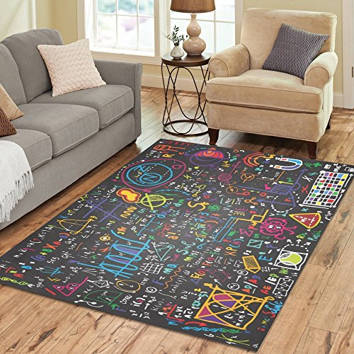 InterestPrint Physics Education Physical Formulas and Phenomenon Rug Carpet 7 x 5 Feet, Science Board with Math Modern Area Rug Floor Mats for Children Kids Playroom Bedroom Decor by InterestPrint