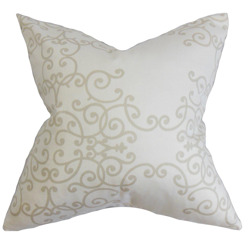 The枕コレクションp20-rob-softscrolls-birch-c100 Fiannaフローラル枕、ホワイトバーチ、20