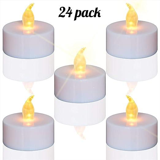TEECOO24 unidades LED Velas Velas CR2032 pilas velas sin llama,LED Velas,LED Velas de té,Velas LED Sin Llama con Baterías para ...