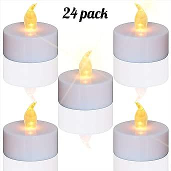 TEECOO24 unidades LED Velas Velas CR2032 pilas velas sin llama,LED ...