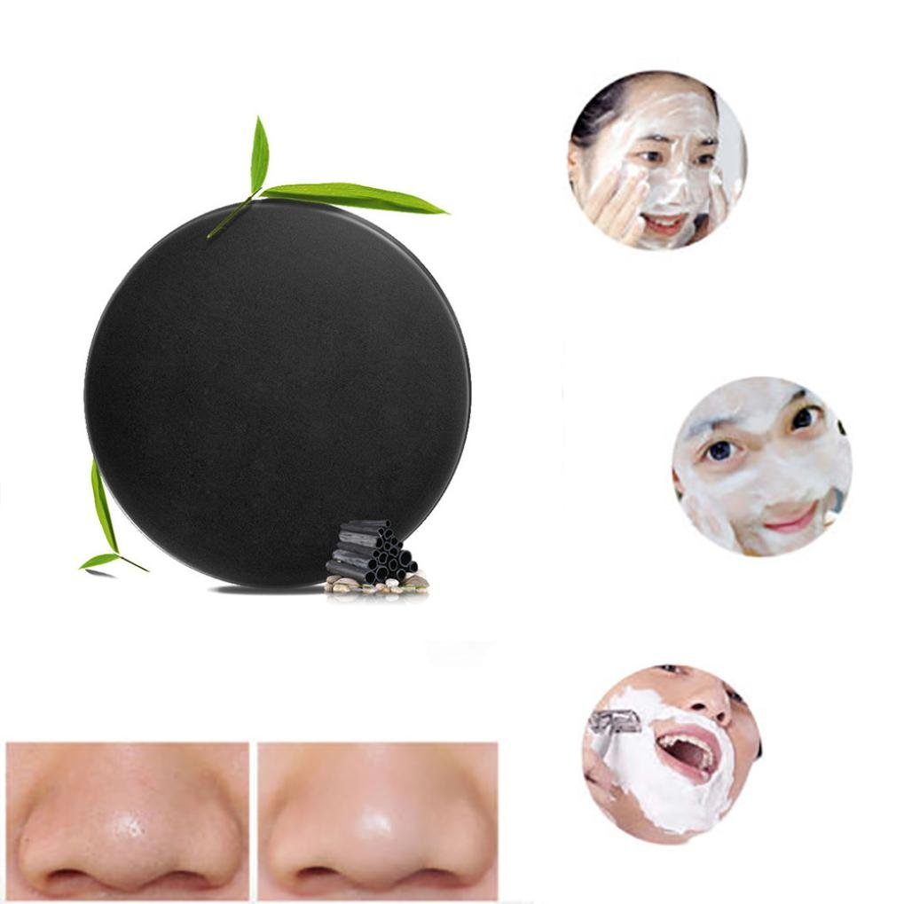 Activated Bamboo Charcoal Soap, AMA(TM) Natural Handmade Organic Face and Body Wash Cleansing Bar Black Mud Deep Purifying Soap (A)
