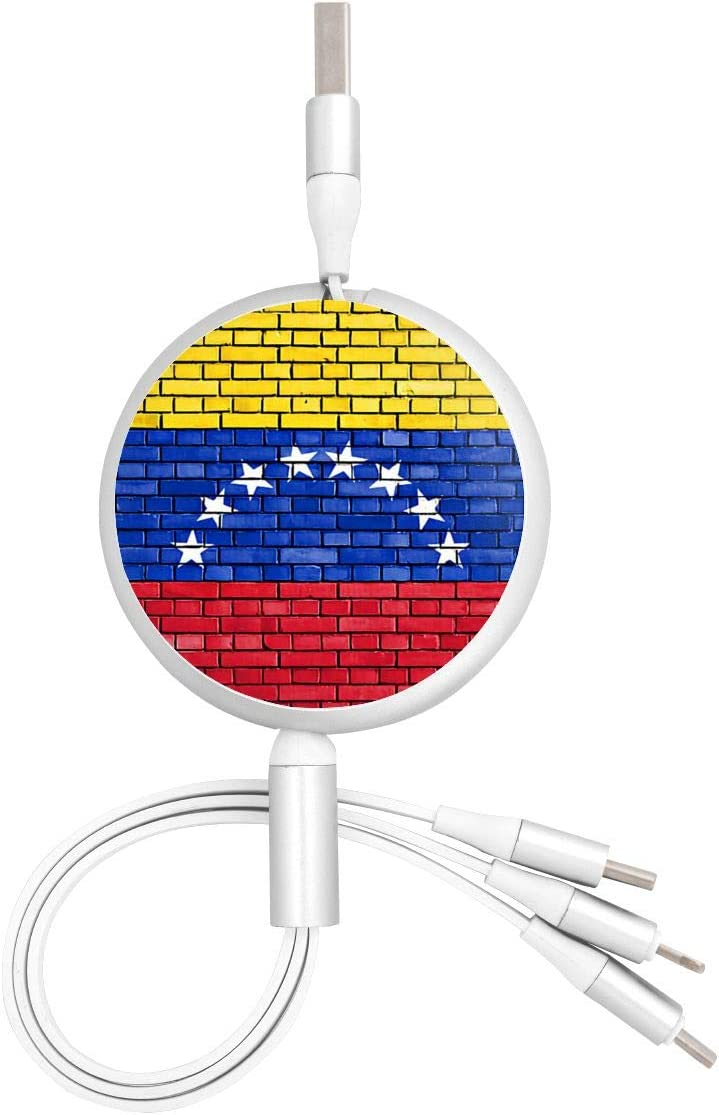Venezuela Flag Puzzle USB Charging Cable 3 in 1 Retractable Fast Charger Cord Connector for All Phones with Tablets