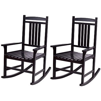 Stupendous Amazon Com Alblessings Set Of 2 Black Patio Wood Rocking Bralicious Painted Fabric Chair Ideas Braliciousco