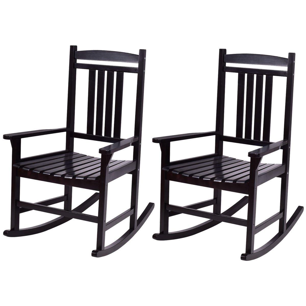 FDInspiration 2Pcs Black Birch Wood Rocking Chair Rocker Back Slats