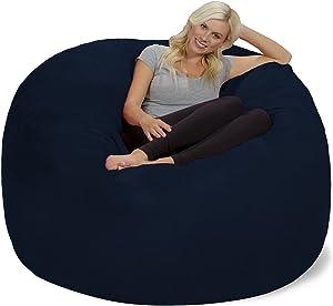 Chill Sack Bean Bag Chair: Giant 6' Memory Foam Furniture Bean Bag - Big Sofa with Soft Micro Fiber Cover, Navy