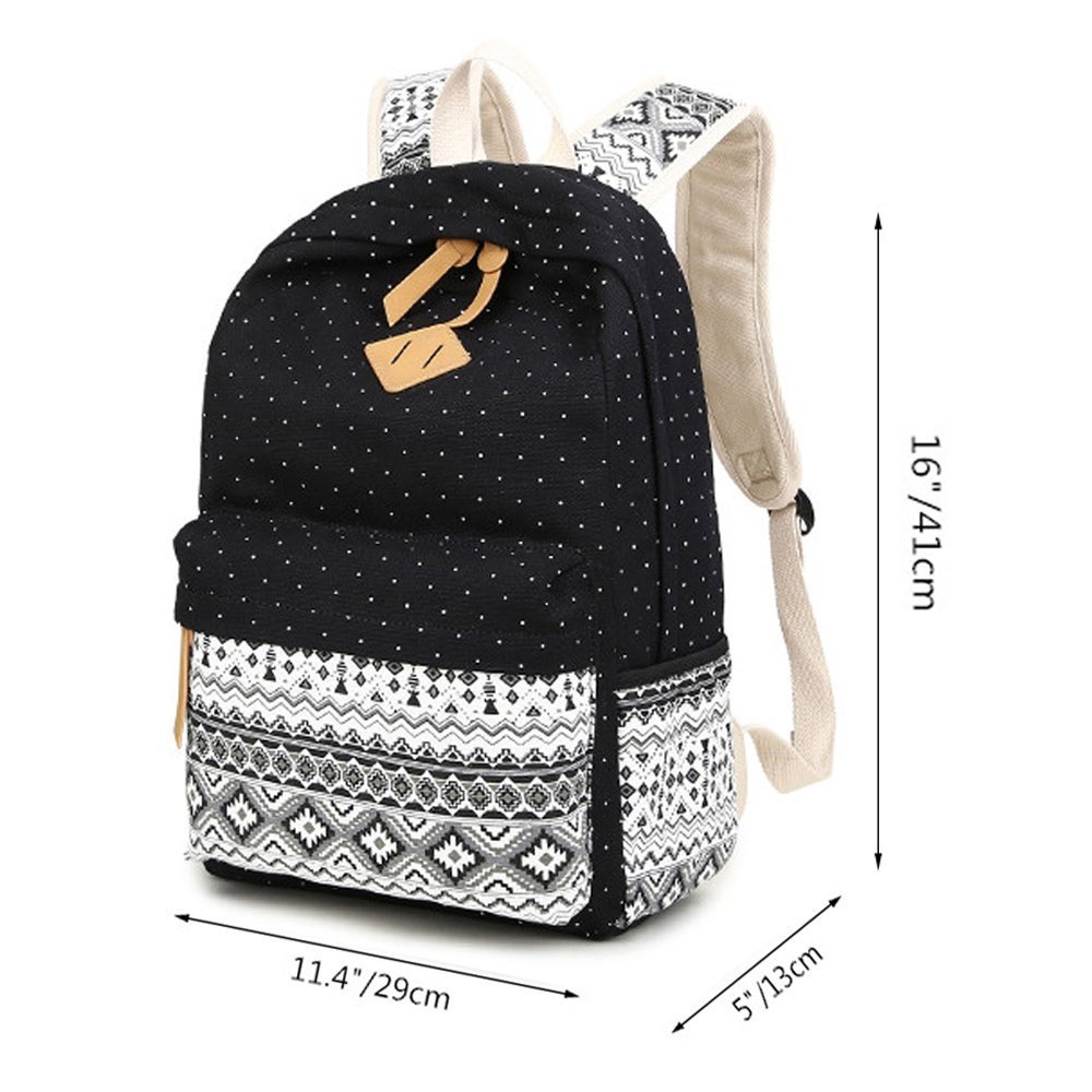 Black Canvas Backpack Ladies, Fresion Lightweight Collage School bags Unisex Men Women Travel Outdoor Hiking Camping Weekend Daypack