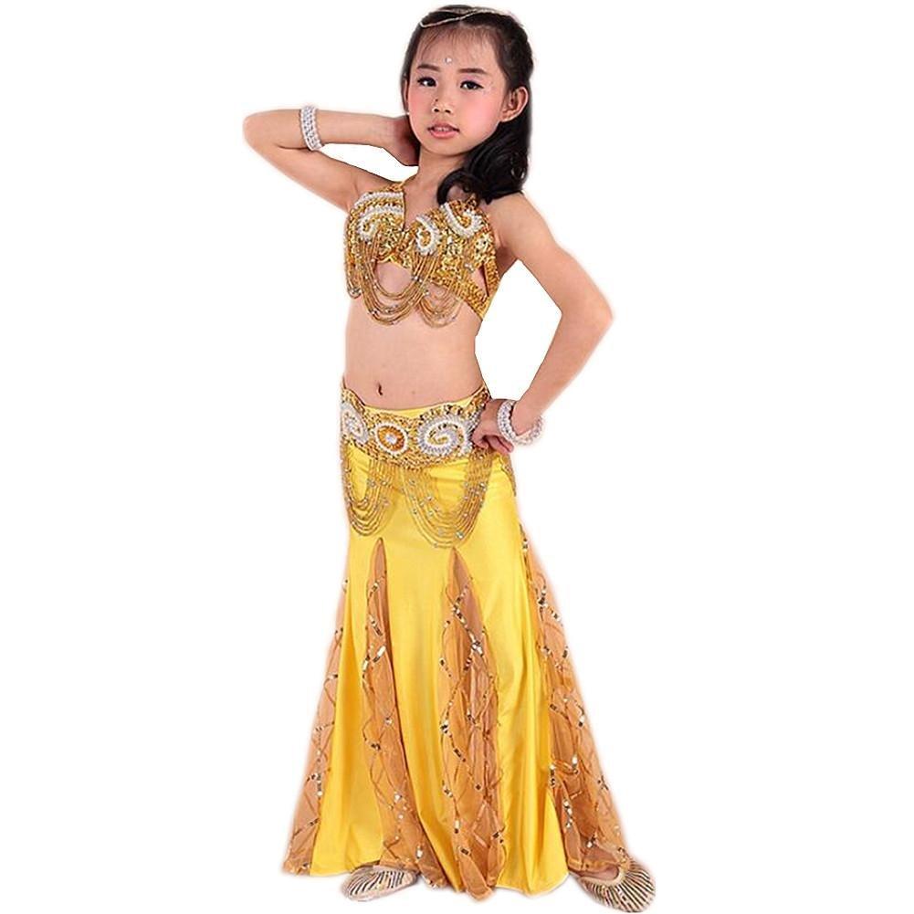 G Wgwioo Perforhommece Professionnelle Girl Belly Dance Jupe Diamond borle Sequins Inde Handmade Tulle Broderie MultiCouleure Enfant Fête Costume de vêtements Modernes