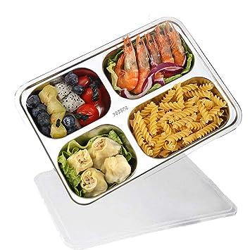 ... de almacenamiento, 4 compartimiento Bento cajas para estudiantes adultos niños Picnic,dividido bandeja de alimentos con tapa: Amazon.es: Hogar