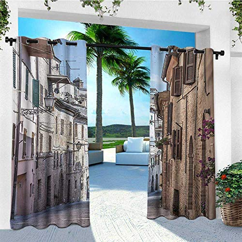 leinuoyi Mediterranean, Sun Zero Outdoor Curtains, Italian Apartments in Aged City Countryside Italy Dreamy Path Destination Photo, for Balcony W96 x L96 Inch Multi