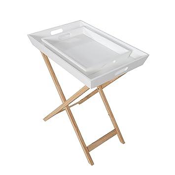 Invicta Interior Design Retro Tablett Tisch Scandinavia Weiß Eiche