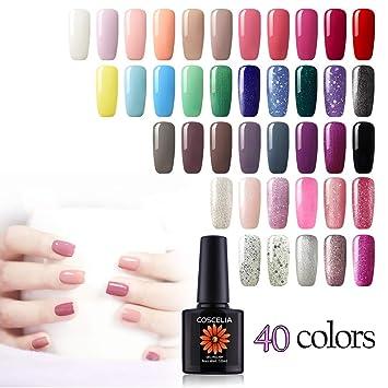 Amazon.com: Gelonge 40 Colors Soak Off Nail Gel Polish Art Design ...
