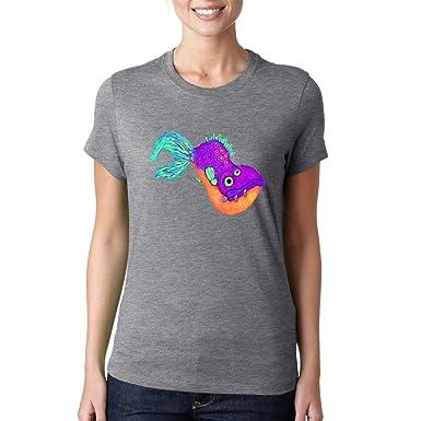 Alien fish cartoon colorful funny Dammen baumwolle t-shirt: Amazon.de:  Bekleidung