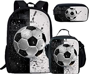 Fashion 3D Soccer Printed Book with Lunch Bag with Pencil Case