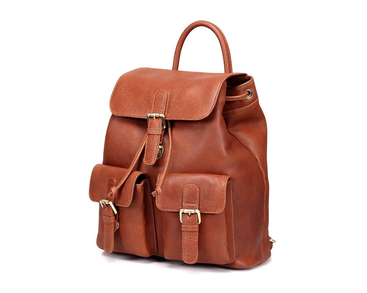 TheCultured Leather Front Pocket Backpack Shoulder Bag in Tan by LederMann (Image #2)