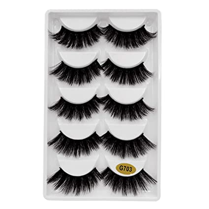 356eb17b2a6 GoodLock Hot!! 5 Pairs 3D Fashion Party False Eyelashes Thick Eyelashes  Extension Colorful Makeup Handmade Soft Premium Quality Best Natural Look  False ...