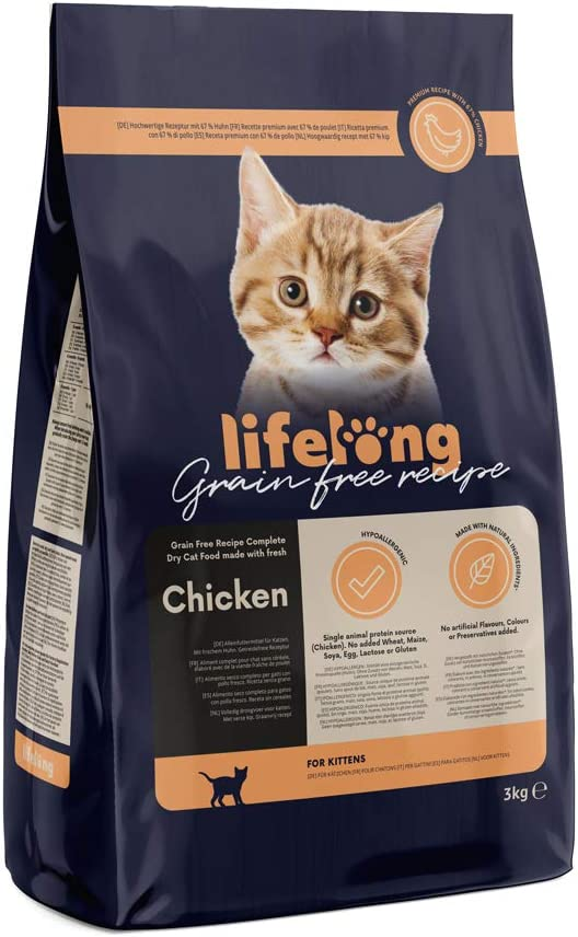 Marca Amazon Lifelong Alimento seco para gatitos con pollo fresco, receta sin cereales - 3kg