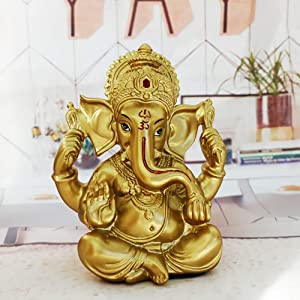 Hindu Ganesha Statue Diwali Decor - Lord Ganesh Ganpati Elephant Meditation - Indian Idol Home Puja Decor