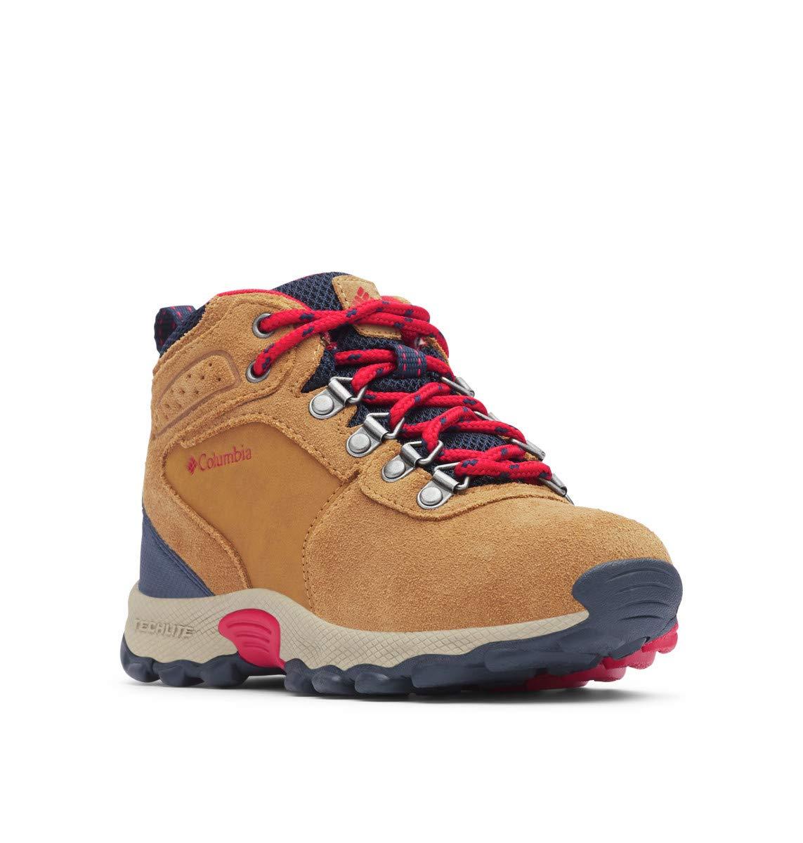 Columbia Unisex Youth Newton Ridge Suede Hiking Boot, elk, Mountain red, 7 Regular US Big Kid