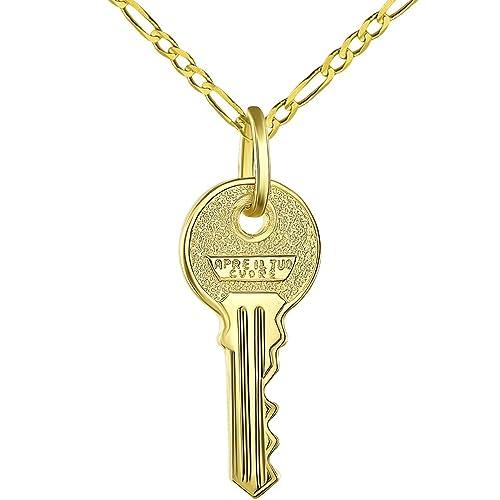 Amazon.com: Llavero de oro amarillo de 14 quilates con ...