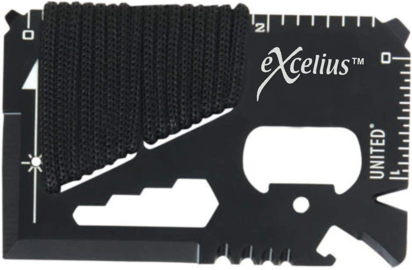 This is a close-up photo of a credit card multi-survival tool in color black, with holes for can opener, hex wrench set and etc.