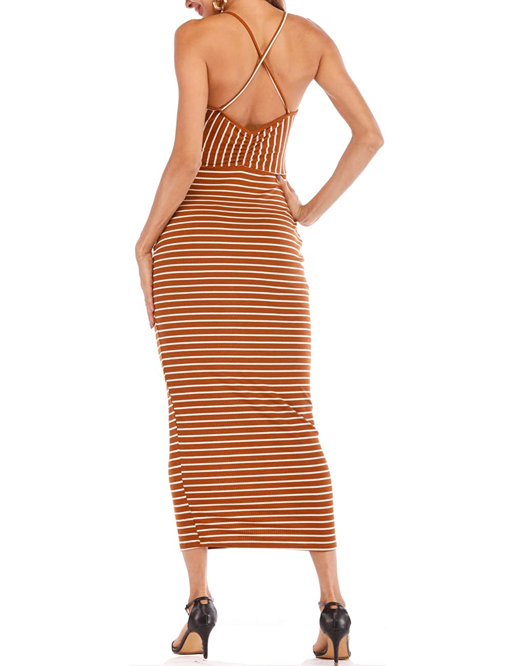 Brown and White Hioinieiy Women's Pit Striped Spaghetti Strap Boat Neck Bodycon Maxi Dress Maternity Hawaiian Sheath Long Dresses (SL)