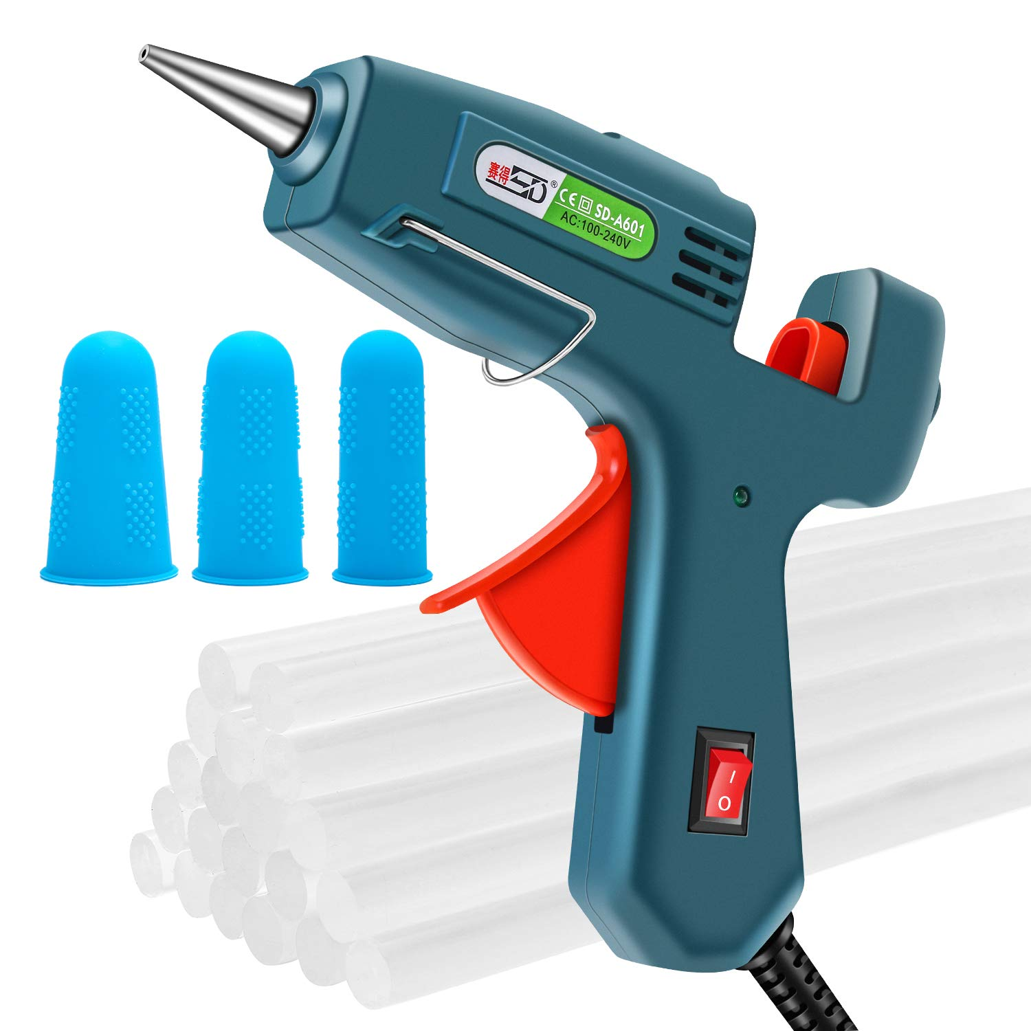 Hot Melt Glue Gun with 20pcs Glue Sticks, Removable Anti-hot Cover Glue Gun Kit with Flexible Trigger for DIY Small Craft Projects & Sealing and Quick Daily Repairs 20 Watt KANGGE