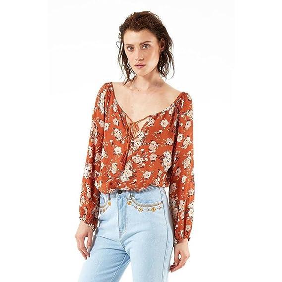 Tefamore Mujeres 2017 Casual & Moda V-cuello de la gasa de la blusa (