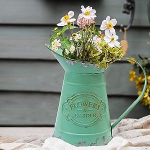 MISIXILE Small Metal Rustic Style Green Flower Vase Holder Planter/Farmhouse Vase/Decorative Pitcher Jar for Garden Decoration
