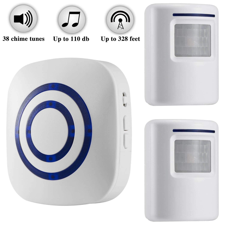 Weefun Wireless Driveway Alarm,Home Security Motion Sensor Alarm,2 PIR Motion Sensor Detector and 1 Receiver - 38 Chime Tunes - LED Indicators