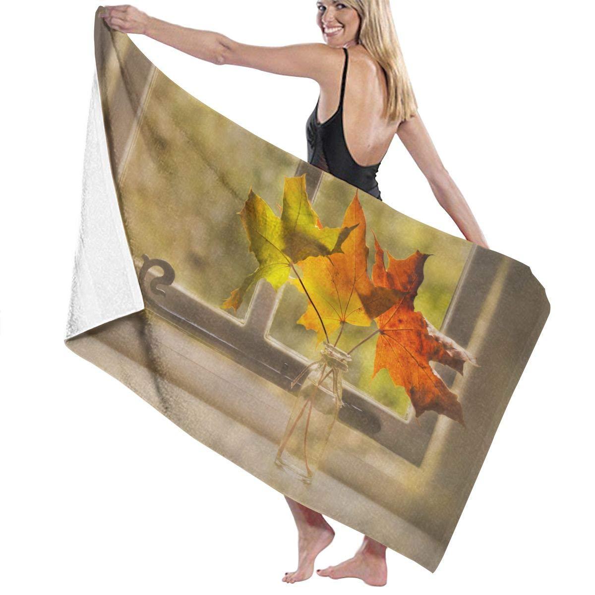 QWED Still Life Leaves Window Unisex Luxury Beach Towels Fashion Sauna Yoga Gym Towel