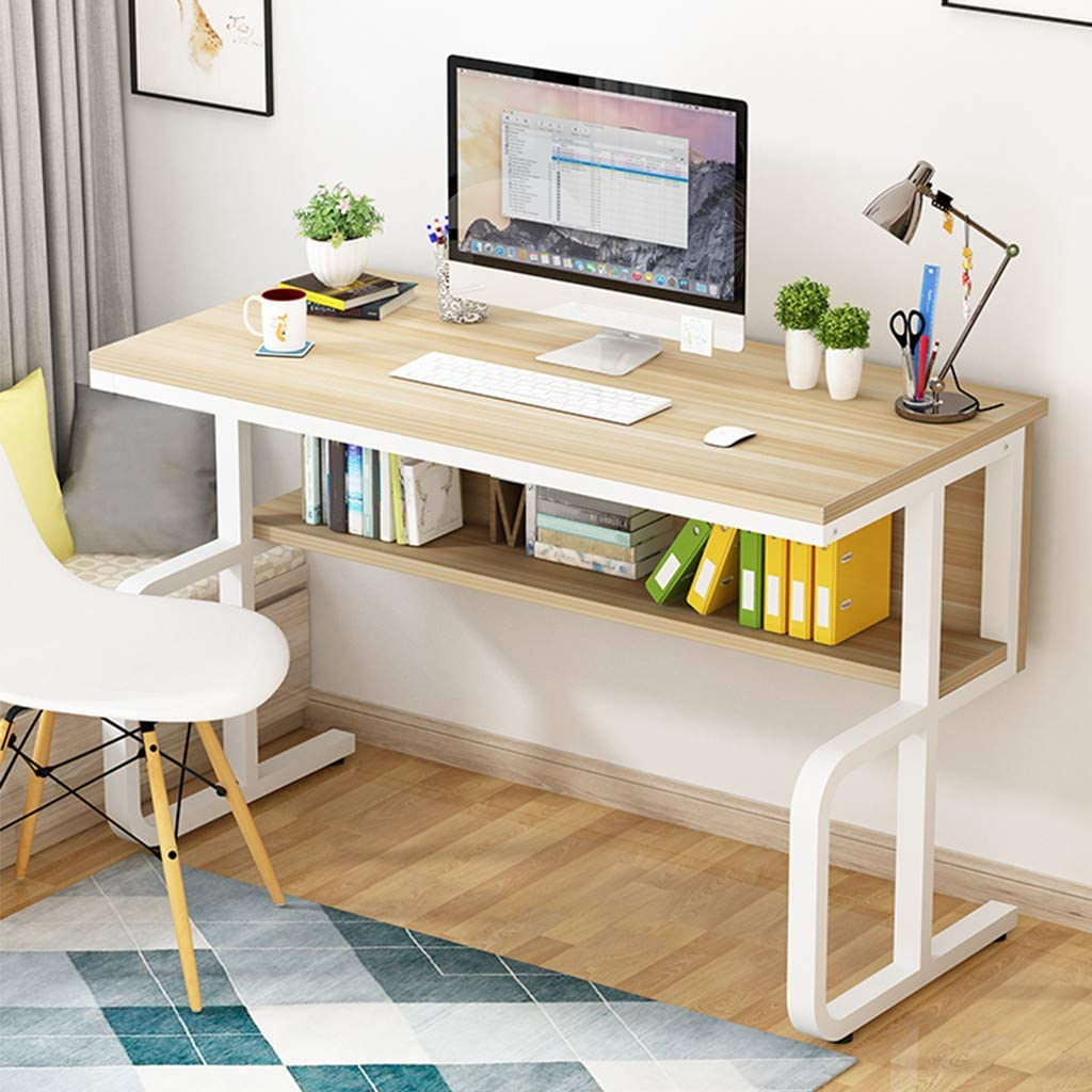 HuiKai_Shipped from US Fashion Home Desktop Computer Desk Bedroom Laptop Study Table Office Desk Workstation, Small End Table Living Room Coffee Table Creative Sofa Bed Table W/Shelf