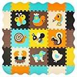meiqicool Puzzle Play Mat with Fence, Kids Interlocking Foam Playmat Set, Toddler Playroom