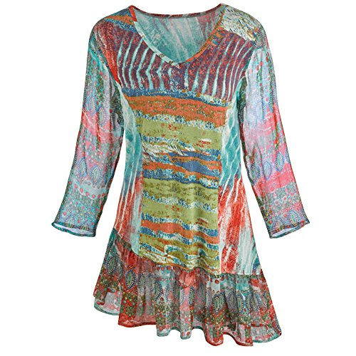 Women's Tunic Top - Landscape Of Color Boho Funky Stripes - 2X