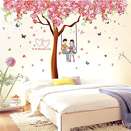 Elegant Oren Empower (Pack Of 3) Cherry Blossom Extra Large Wall Stickers (Pink,