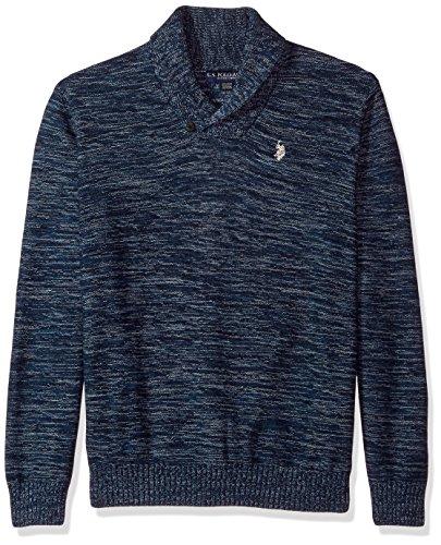 U.S. Polo Assn. Men's Reverse Jersey Shawl Collar Sweater, Sailor MARL, Large by U.S. Polo Assn.