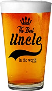 Shop4Ever The Best Uncle In The World Beer Pint Glass ~ Gift for Uncle ~ (Black Print, 16 oz.)