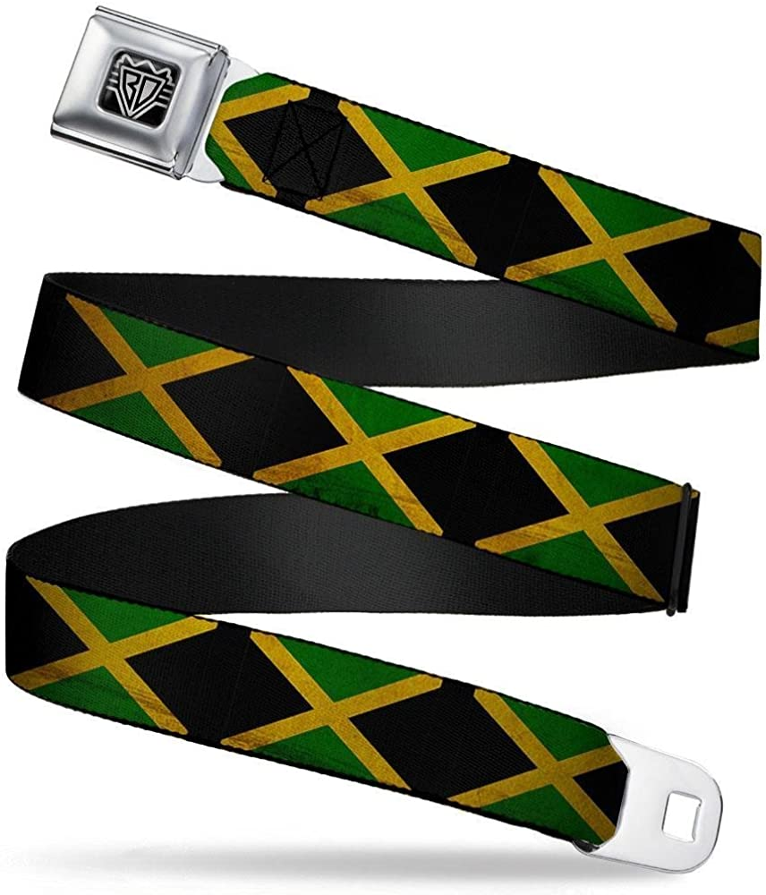 1.5 Wide Jamaica Flags Vintage Black Buckle-Down Seatbelt Belt 32-52 Inches in Length