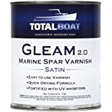 TotalBoat Gleam Marine Spar Varnish, Gloss and Satin Polyurethane Finish for Wood, Boats and Outdoor Furniture
