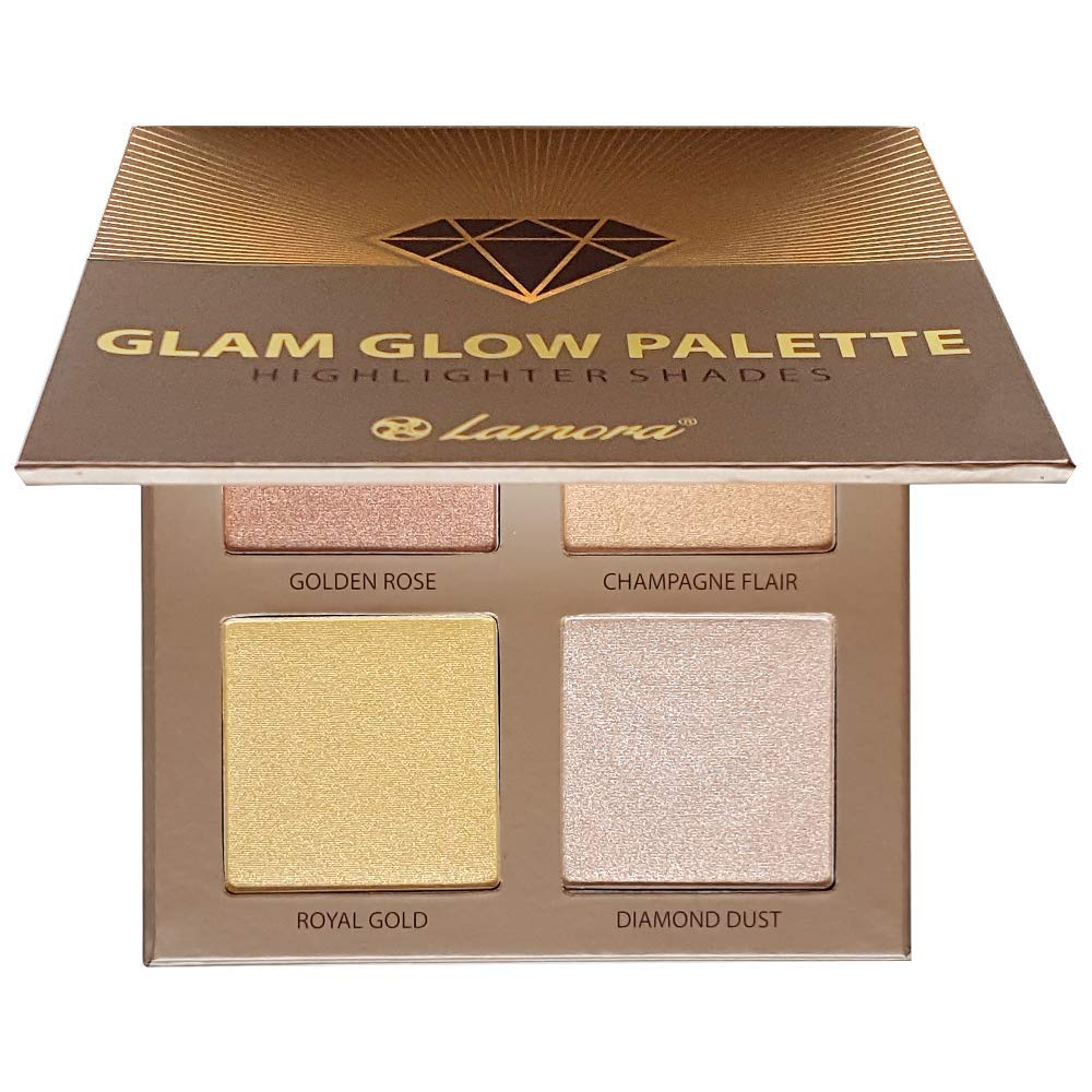 Highlighter Palette Highlighters Makeup Iluminador - Glow Bronzer Powder Makeup Highlighter Kit With Mirror - 4 Highly Pigmented Face Highlighter Shimmer Colors - Vegan, Cruelty Free & Hypoallergenic