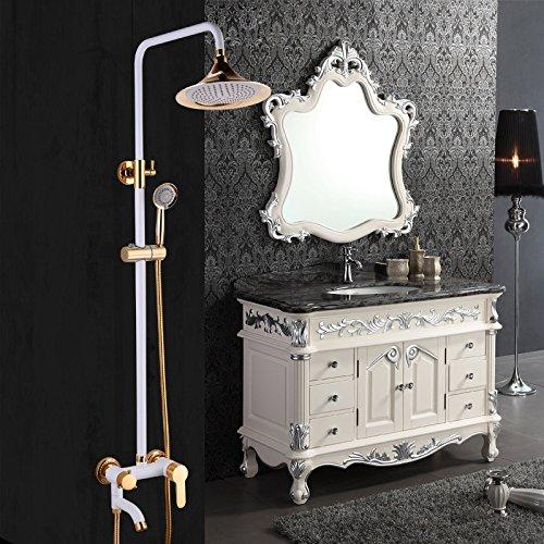 SAEKJJ-Copper Continental Gold Retro Shower Set Shower White Paint The Big Apple Bathroom faucet 50%OFF