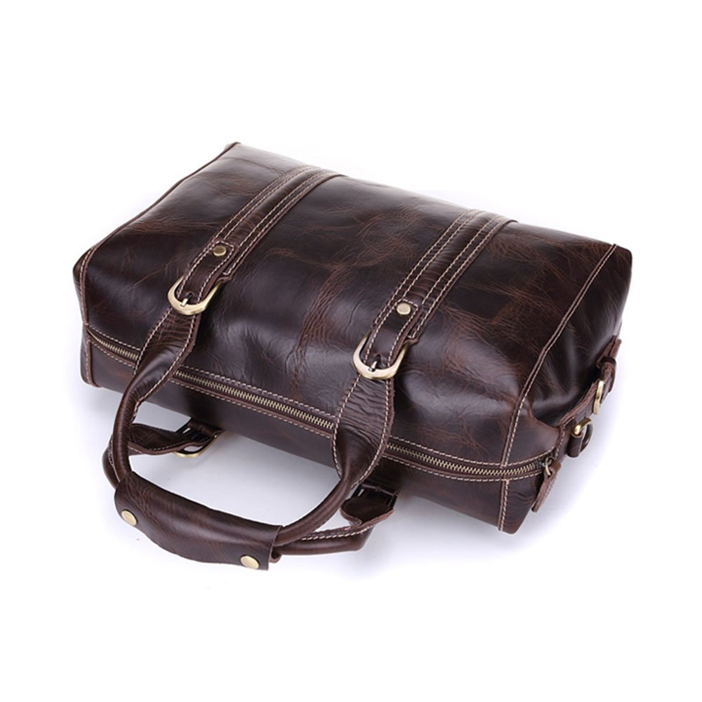 Color : Coffee Ybriefbag Unisex Leather Travel Bags Mens Leather Bags Business Computer Bags Vacation