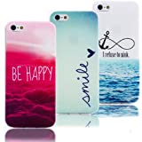 Vandot 3 X Iphone 4 4S Couleur TPU Silicone Doux Coque Coquille Case Protection Cover Couvrir Couverture Housse Etui Shell-Smile+Be Happy+I refuse