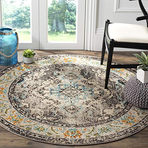 Safavieh Monaco Collection MNC243G Vintage Oriental Grey and Light Blue Distressed Round Area Rug (5' in Diameter)